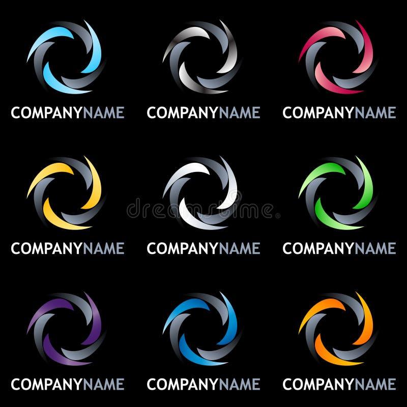καθορισμένη ρόδα λογότυπ&om διανυσματική απεικόνιση