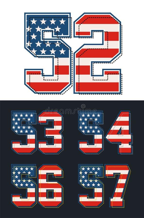 Καθορισμένη σημαία της Αμερικής αριθμών κατασκευασμένη διάνυσμα διανυσματική απεικόνιση