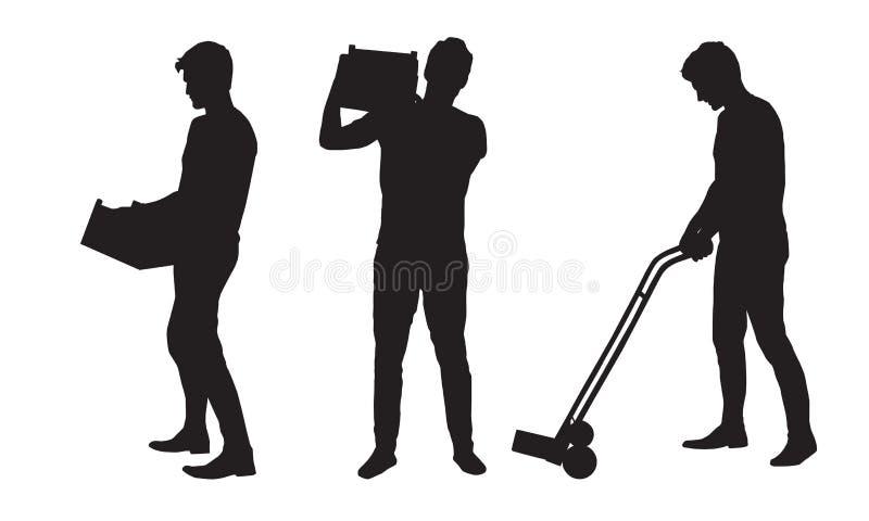 Καθορισμένη σκιαγραφία ενός ατόμου που φέρνει ένα κιβώτιο και που φέρνει ένα κάρρο απεικόνιση αποθεμάτων