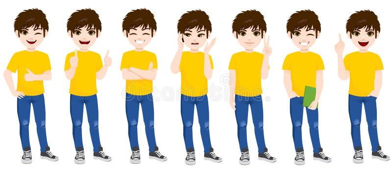 Καθορισμένη στάση συλλογής αγοριών εφήβων διανυσματική απεικόνιση