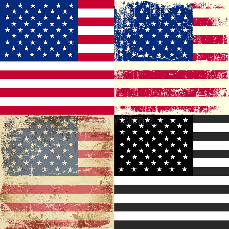 Καθορισμένη συλλογή της αμερικανικής σημαίας διανυσματική απεικόνιση