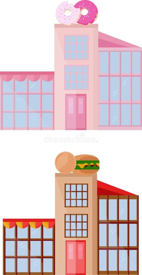 Καθορισμένη συλλογή του αρτοποιείου donuts και χρωματισμένου του γρήγορο φαγητό διανύσματος κτηρίων προσόψεων αρχιτεκτονικής διανυσματική απεικόνιση