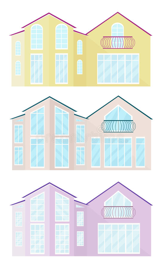 Καθορισμένη συλλογή του διαφορετικού διανύσματος κτηρίων προσόψεων γυαλιού αρχιτεκτονικής ελεύθερη απεικόνιση δικαιώματος