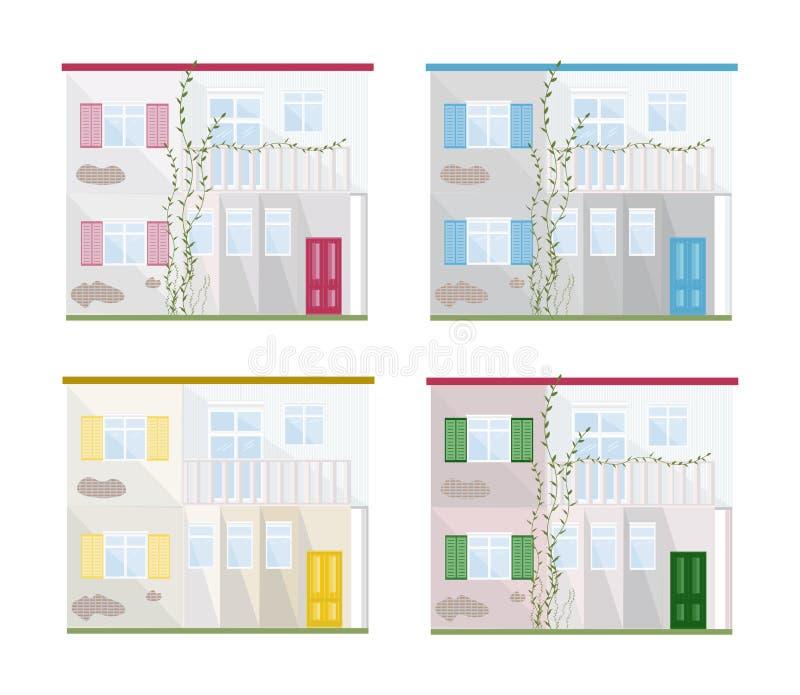 Καθορισμένη συλλογή του διαφορετικού εγχώριου διανύσματος προσόψεων αρχιτεκτονικής χρωμάτων ελεύθερη απεικόνιση δικαιώματος