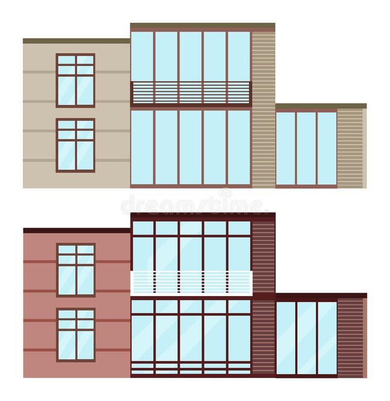Καθορισμένη συλλογή του σύγχρονου διανύσματος κτηρίων προσόψεων γυαλιού αρχιτεκτονικής ελεύθερη απεικόνιση δικαιώματος