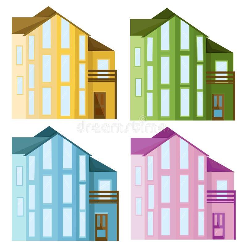 Καθορισμένη συλλογή του χρωματισμένου διανύσματος κτηρίων προσόψεων γυαλιού αρχιτεκτονικής ελεύθερη απεικόνιση δικαιώματος