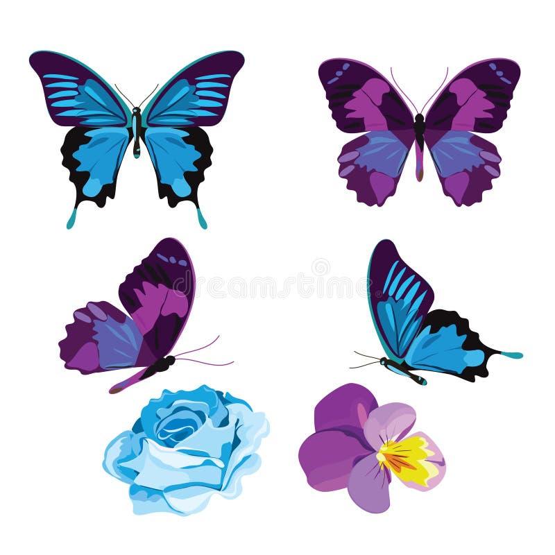 Καθορισμένη συλλογή των μπλε και ιωδών πεταλούδων και των λουλουδιών που απομονώνονται στο άσπρο υπόβαθρο επίσης corel σύρετε το  διανυσματική απεικόνιση