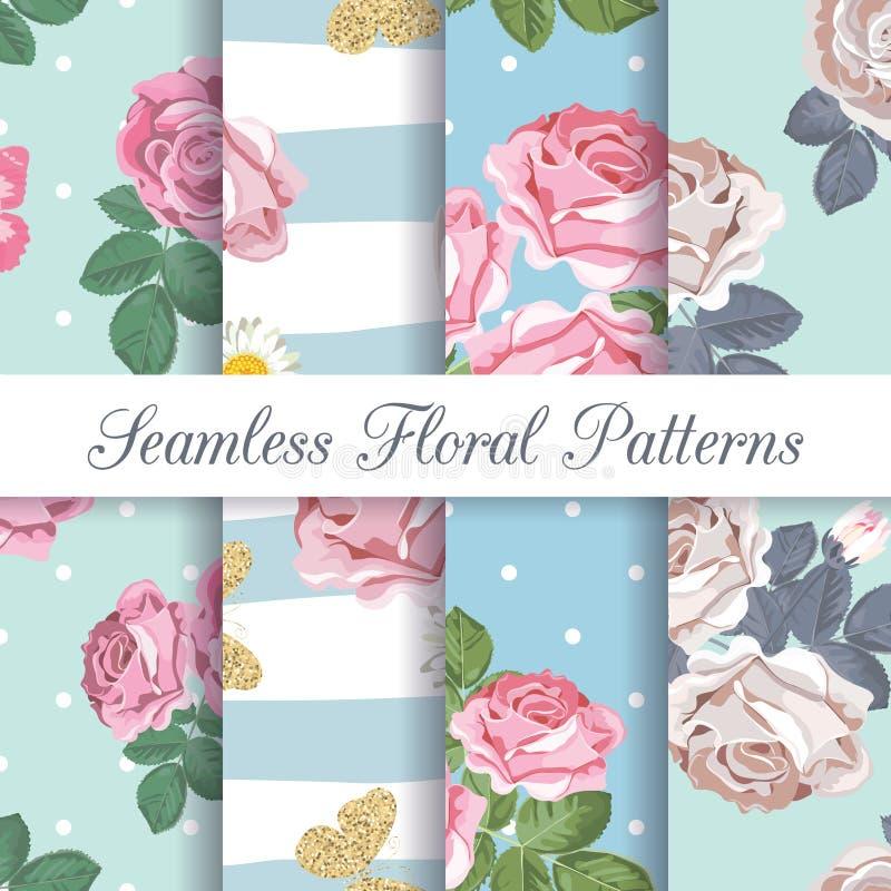 Καθορισμένη συλλογή των floral άνευ ραφής σχεδίων με τα τριαντάφυλλα και τις πεταλούδες ελεύθερη απεικόνιση δικαιώματος