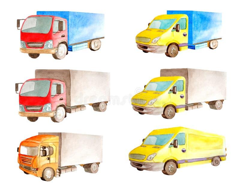 Καθορισμένη συλλογή Watercolor των ελαφριών εμπορικών κόκκινων και κίτρινων οχημάτων στο άσπρο υπόβαθρο που απομονώνεται στοκ εικόνες
