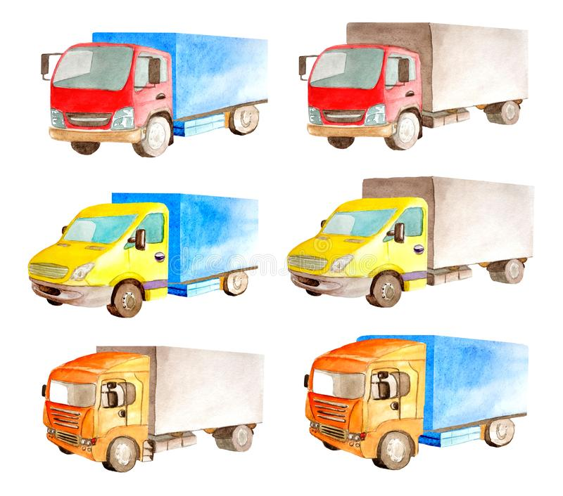Καθορισμένη συλλογή Watercolor των ελαφριών εμπορικών οχημάτων στο άσπρο υπόβαθρο που απομονώνεται στοκ φωτογραφία με δικαίωμα ελεύθερης χρήσης