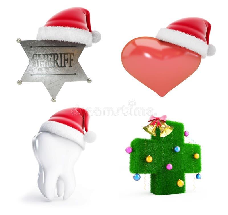 Καθορισμένη τρισδιάστατη απεικόνιση καπέλων santa Χριστουγέννων ελεύθερη απεικόνιση δικαιώματος