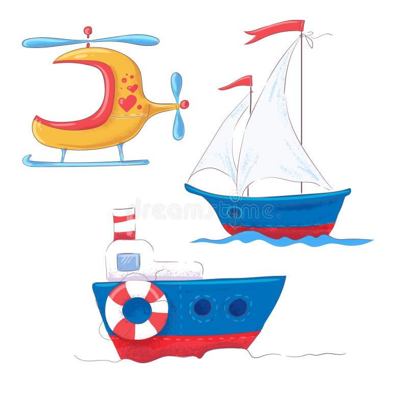 Καθορισμένη χαριτωμένη μεταφορά κινούμενων σχεδίων για το ατμόπλοιο, το ατμόπλοιο και το ελικόπτερο παιδιών s clipart απεικόνιση αποθεμάτων