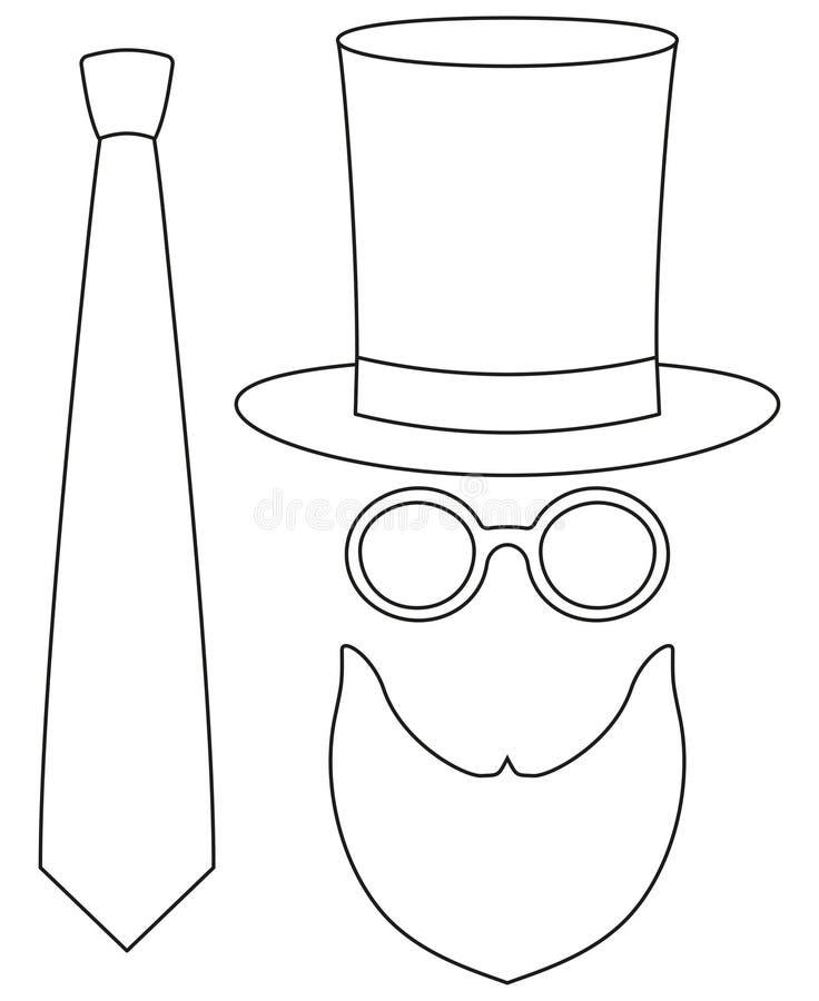 Καθορισμένη ψηλή γενειάδα γυαλιών καπέλων στοιχείων ειδώλων ημέρας μπαμπάδων πατέρων ατόμων αφισών τέχνης γραμμών εικονιδίων, κάσ διανυσματική απεικόνιση