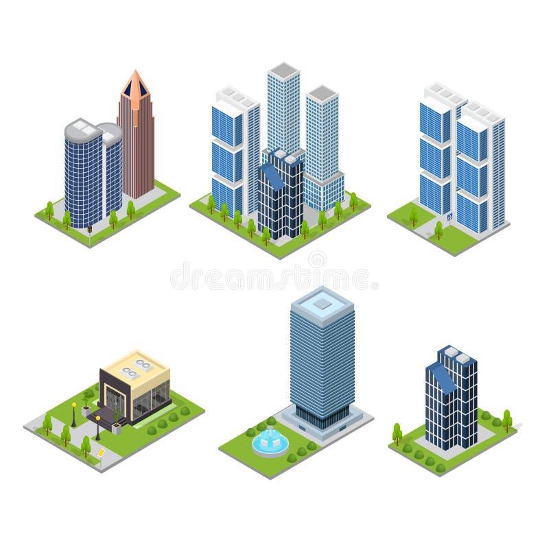 Καθορισμένη Isometric άποψη ουρανοξυστών πόλεων και κτηρίου καφέδων διάνυσμα διανυσματική απεικόνιση