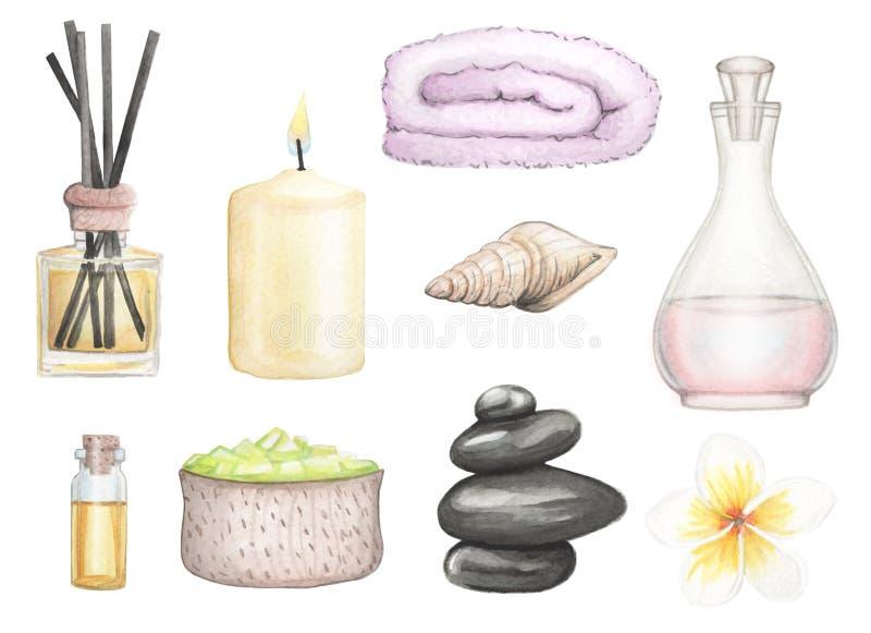 Καθορισμένη SPA απεικόνιση watercolor στοιχείων συρμένη χέρι διανυσματική απεικόνιση