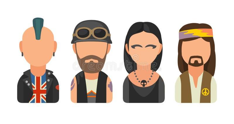 Καθορισμένοι άνθρωποι υποομάδων εικονιδίων διαφορετικοί Πανκ, ποδηλάτης, goth, χίπης διανυσματική απεικόνιση