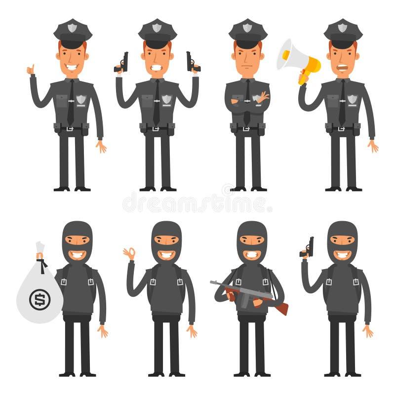 Καθορισμένοι αστυνομικός και παραβάτης χαρακτήρων ελεύθερη απεικόνιση δικαιώματος