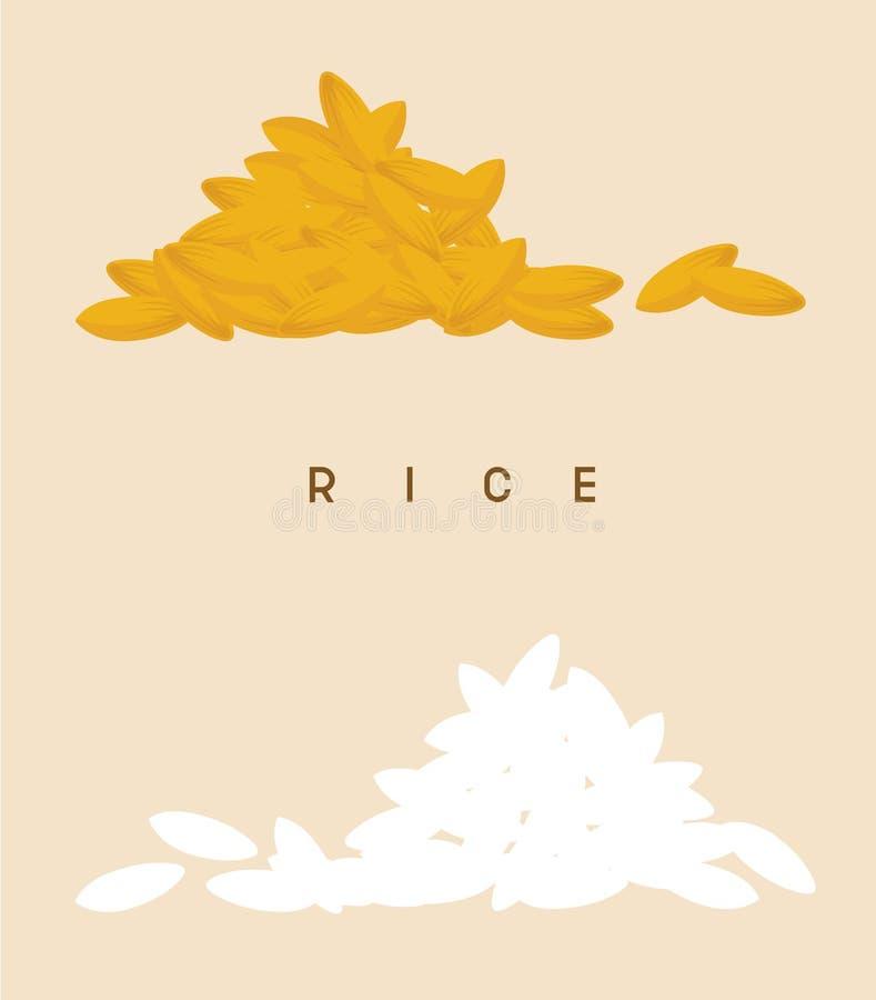 Καθορισμένοι διανυσματικοί ρύζι και σίτος απεικόνιση αποθεμάτων