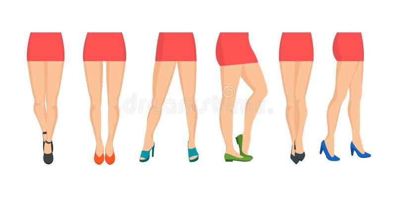 Καθορισμένοι διαφορετικοί τύποι εικονιδίων ποδιών γυναικών κινούμενων σχεδίων διάνυσμα απεικόνιση αποθεμάτων