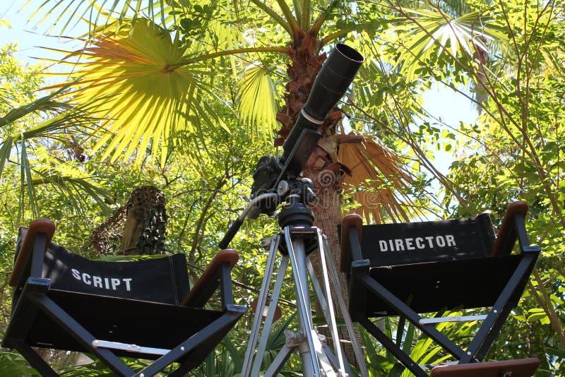 Καθορισμένοι διευθυντής ταινιών και καρέκλα χειρογράφων στοκ φωτογραφίες με δικαίωμα ελεύθερης χρήσης