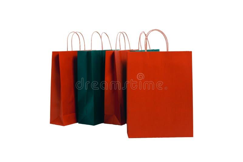 Καθορισμένοι κόκκινος εγγράφου τσαντών αγορών και πράσινος στοκ φωτογραφία με δικαίωμα ελεύθερης χρήσης