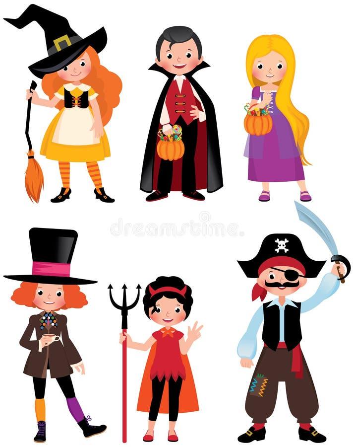 Καθορισμένοι μυθικοί χαρακτήρες αποκριών Αγόρια και κορίτσια στο κοστούμι ελεύθερη απεικόνιση δικαιώματος
