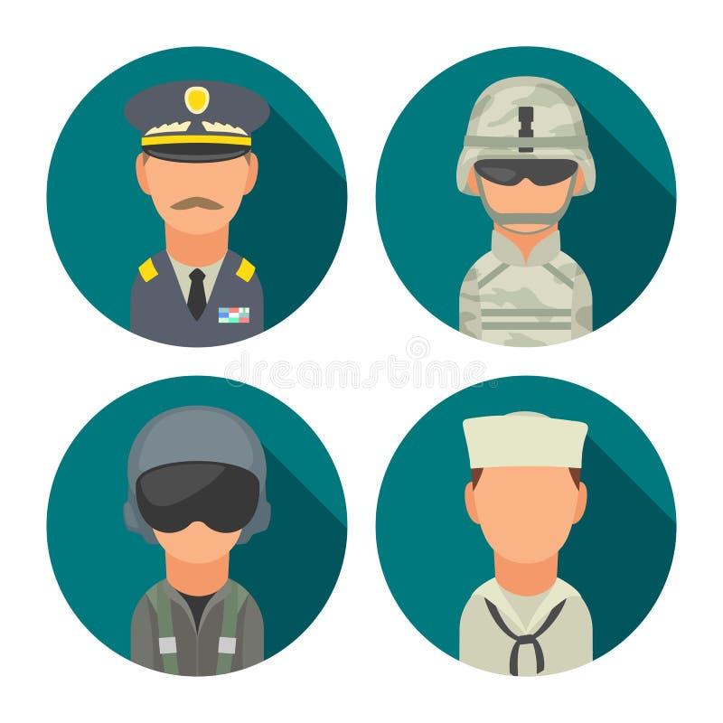 Καθορισμένοι στρατιωτικοί άνθρωποι χαρακτήρα εικονιδίων Στρατιώτης, ανώτερος υπάλληλος, πειραματικός, θαλάσσιος, ναυτικός διανυσματική απεικόνιση