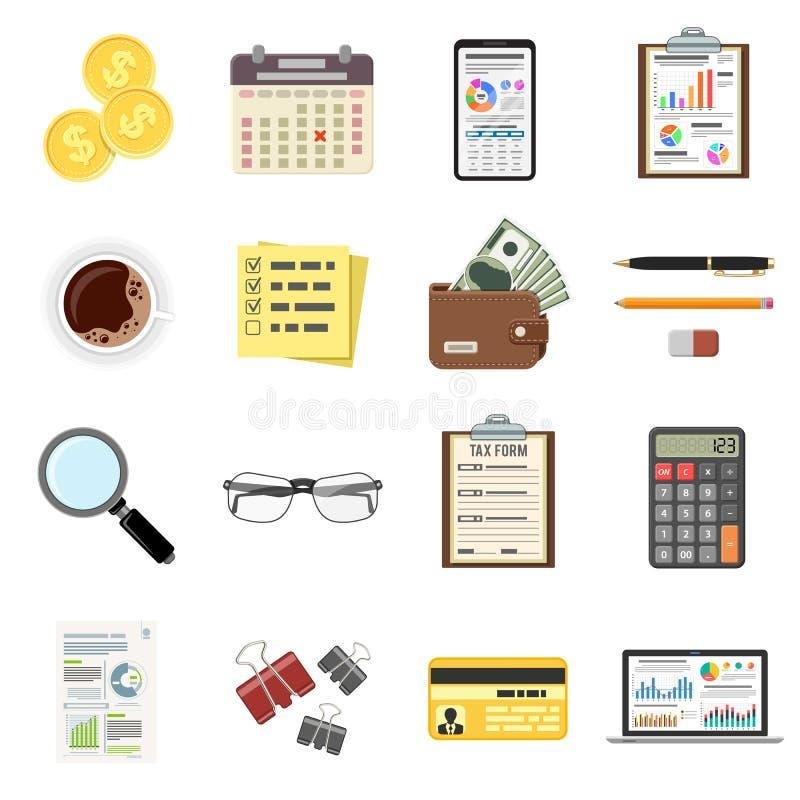 Καθορισμένος έλεγχος, φορολογική διαδικασία, λογιστικά εικονίδια διανυσματική απεικόνιση