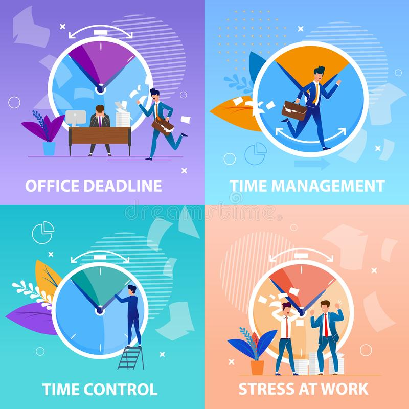 Καθορισμένος έλεγχος χρονικής διαχείρισης Deadlineand γραφείων διανυσματική απεικόνιση