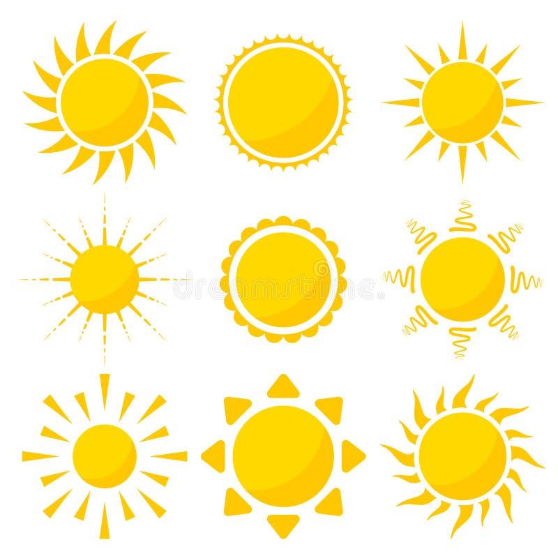 καθορισμένος ήλιος εικονιδίων στοιχείων σχεδίου ελεύθερη απεικόνιση δικαιώματος