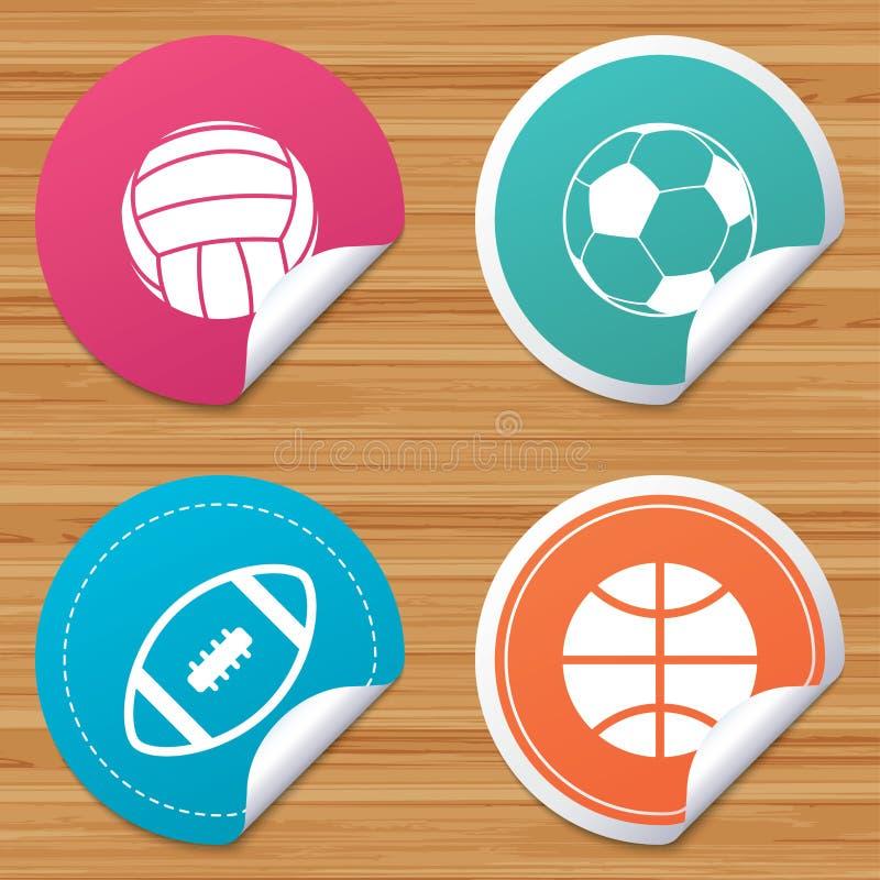 καθορισμένος αθλητισμός σχεδίου σφαιρών εσείς Πετοσφαίριση, καλαθοσφαίριση, ποδόσφαιρο διανυσματική απεικόνιση