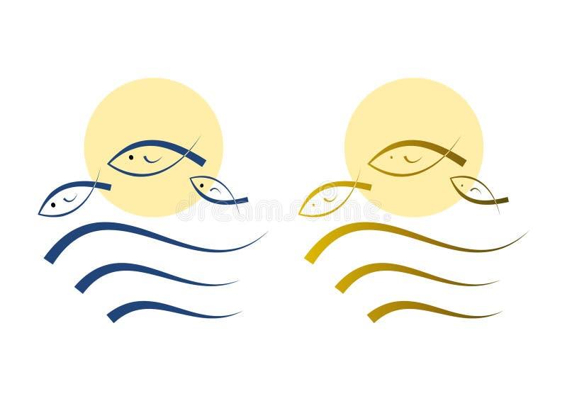 καθορισμένος απλός απεικόνισης εικονιδίων ψαριών διανυσματική απεικόνιση