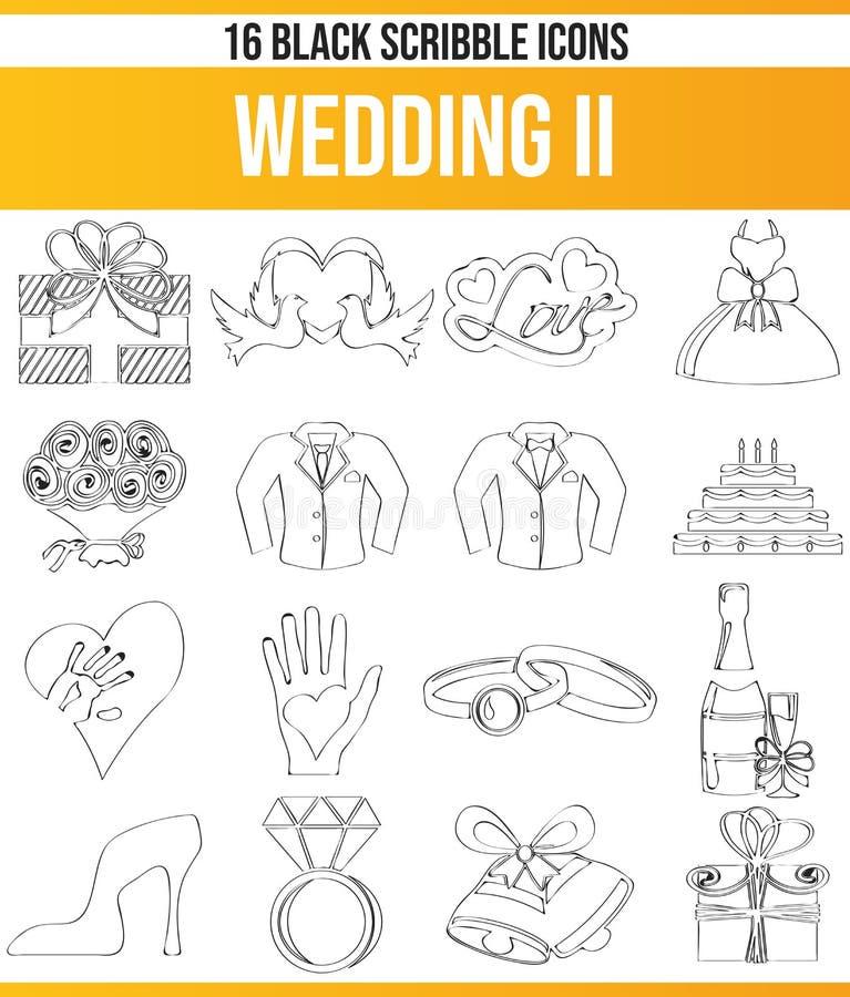 Καθορισμένος γάμος ΙΙ εικονιδίων κακογραφίας μαύρος απεικόνιση αποθεμάτων
