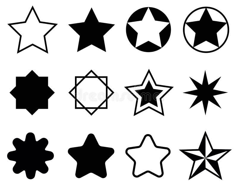 Καθορισμένος γραπτός εικονιδίων αστεριών στοκ εικόνες