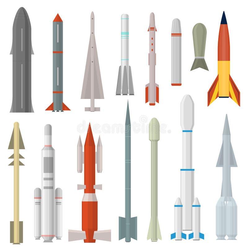 Καθορισμένος διαφορετικός τύπος εικονιδίων όπλων πυραύλων κινούμενων σχεδίων διάνυσμα διανυσματική απεικόνιση