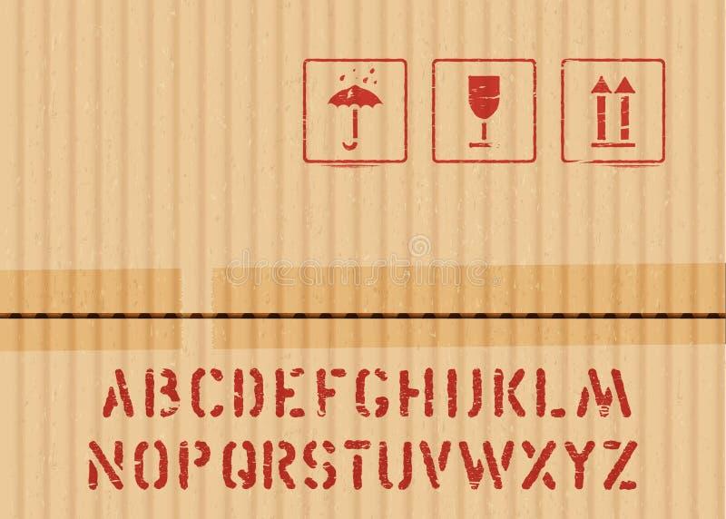 Καθορισμένος εύθραυστος σημαδιών εικονιδίων κουτιών από χαρτόνι φορτίου, κρατά την ξηρά, τοπ και πηγή κλουβιών για τις διοικητικέ απεικόνιση αποθεμάτων