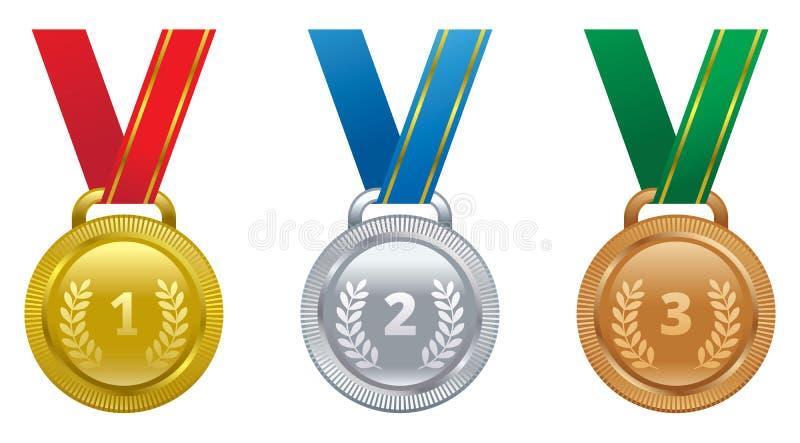 Καθορισμένος διανυσματικός χρυσός, ασήμι και χάλκινο μετάλλιο αθλητικών βραβείων απεικόνιση αποθεμάτων