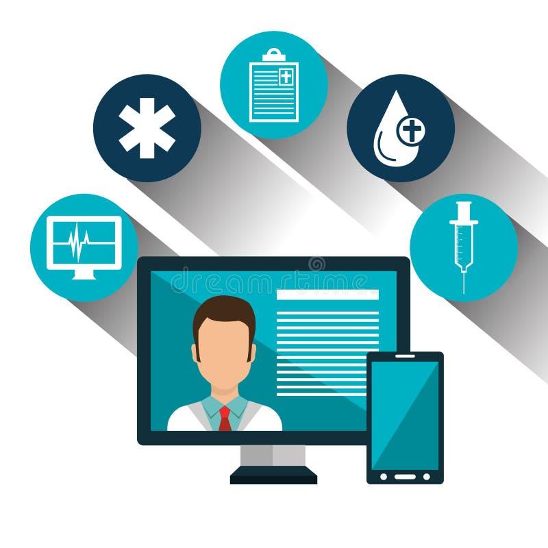 καθορισμένος ιατρικός υπηρεσία online τεχνολογίας που απομονώνεται ελεύθερη απεικόνιση δικαιώματος