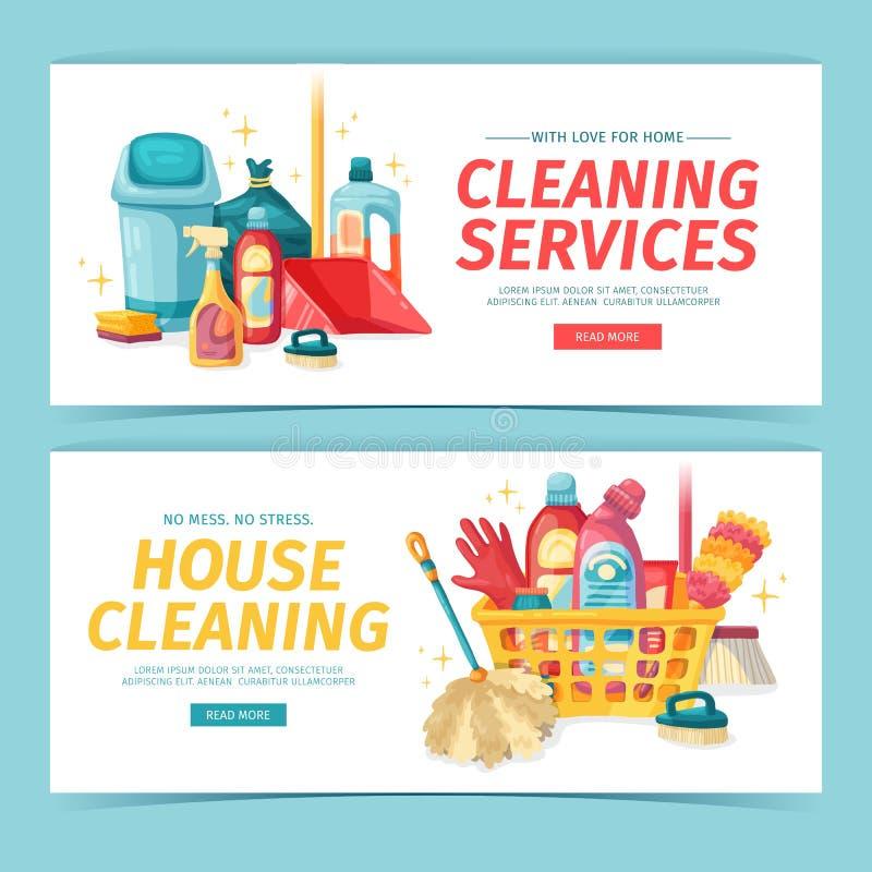 Καθορισμένος καθαρισμός σπιτιών εμβλημάτων σχεδίου με τα καθαρίζοντας προϊόντα Οικιακές χημικές ουσίες απεικόνισης κινούμενων σχε απεικόνιση αποθεμάτων