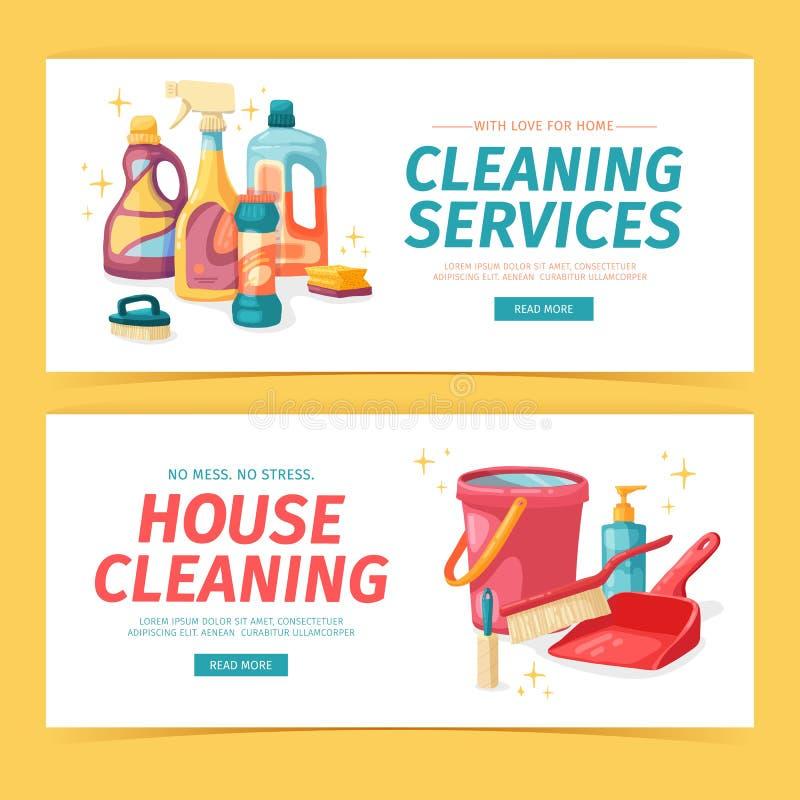 Καθορισμένος καθαρισμός σπιτιών εμβλημάτων σχεδίου με τα καθαρίζοντας προϊόντα Οικιακές χημικές ουσίες απεικόνισης κινούμενων σχε ελεύθερη απεικόνιση δικαιώματος