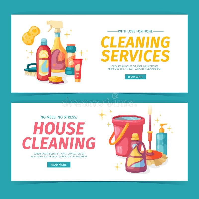 Καθορισμένος καθαρισμός σπιτιών εμβλημάτων σχεδίου με τα καθαρίζοντας προϊόντα Οικιακές χημικές ουσίες απεικόνισης κινούμενων σχε διανυσματική απεικόνιση