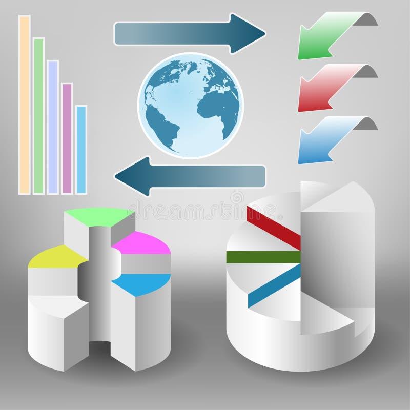 καθορισμένος κόσμος χαρτών πληροφοριών infographics γραφικής παράστασης διανυσματική απεικόνιση