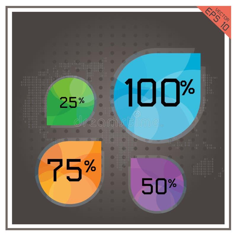 Καθορισμένος κόσμος χαρτών τοις εκατό αριθμού επιχειρησιακών κουμπιών διαγραμμάτων πιτών απεικόνιση αποθεμάτων