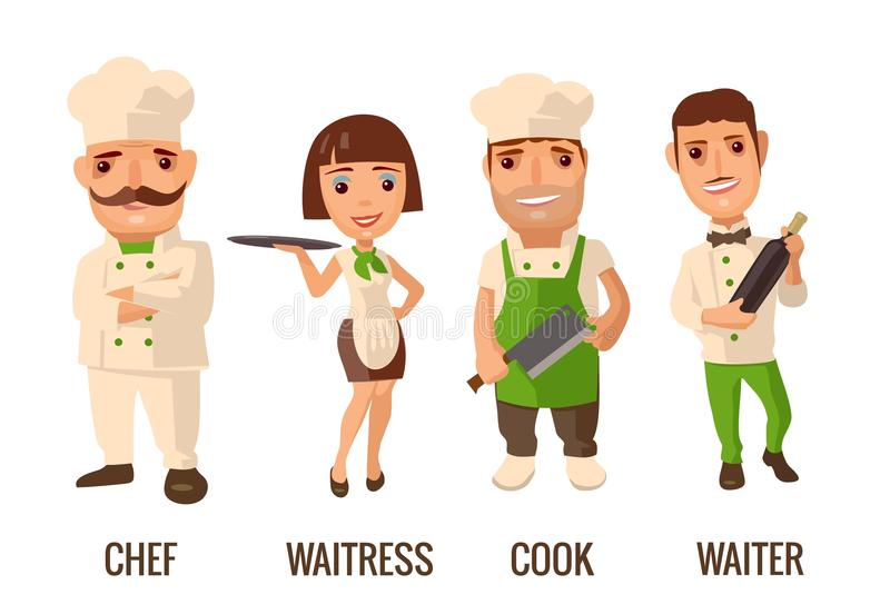 Καθορισμένος μάγειρας χαρακτήρα εικονιδίων Σερβιτόρος, αρχιμάγειρας, σερβιτόρα, διανυσματική απεικόνιση