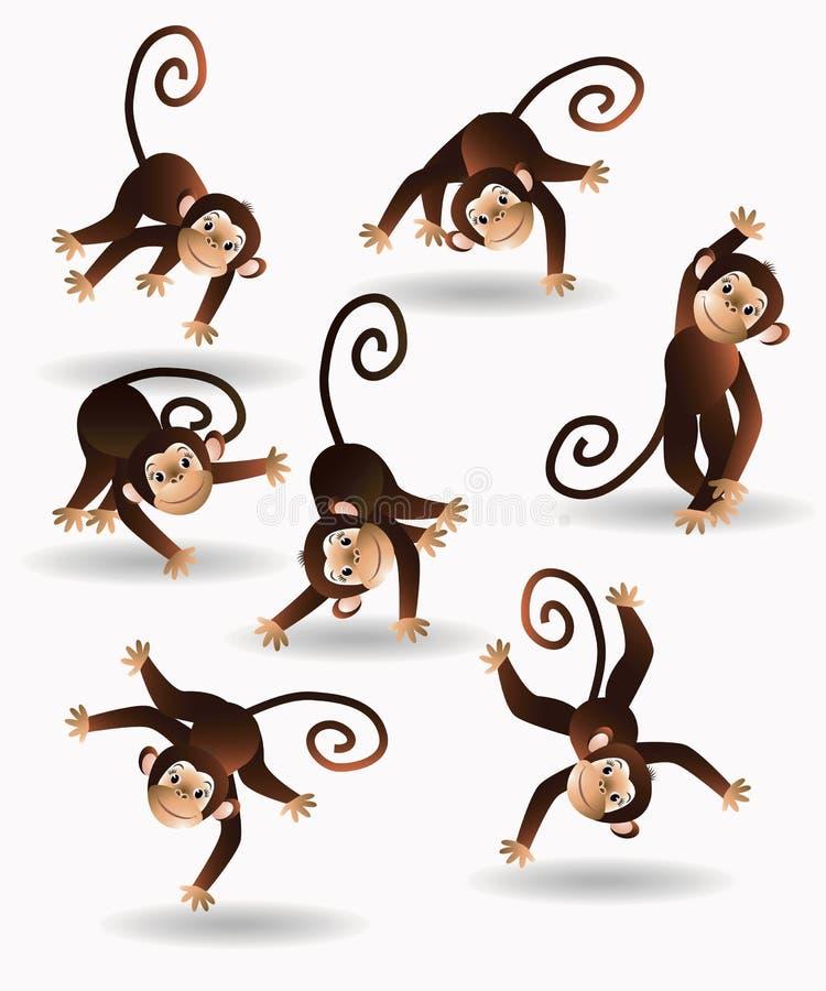 Καθορισμένος πίθηκος άλματος διανυσματική απεικόνιση