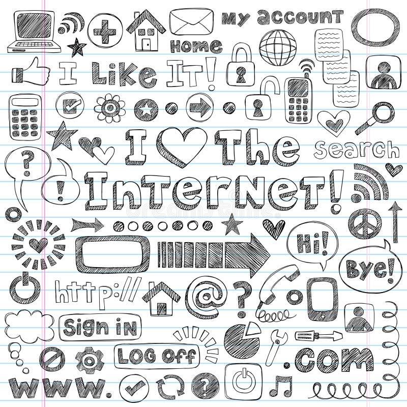 καθορισμένος περιγραμματικός Ιστός Διαδικτύου εικονιδίων υπολογιστών doodles διανυσματική απεικόνιση