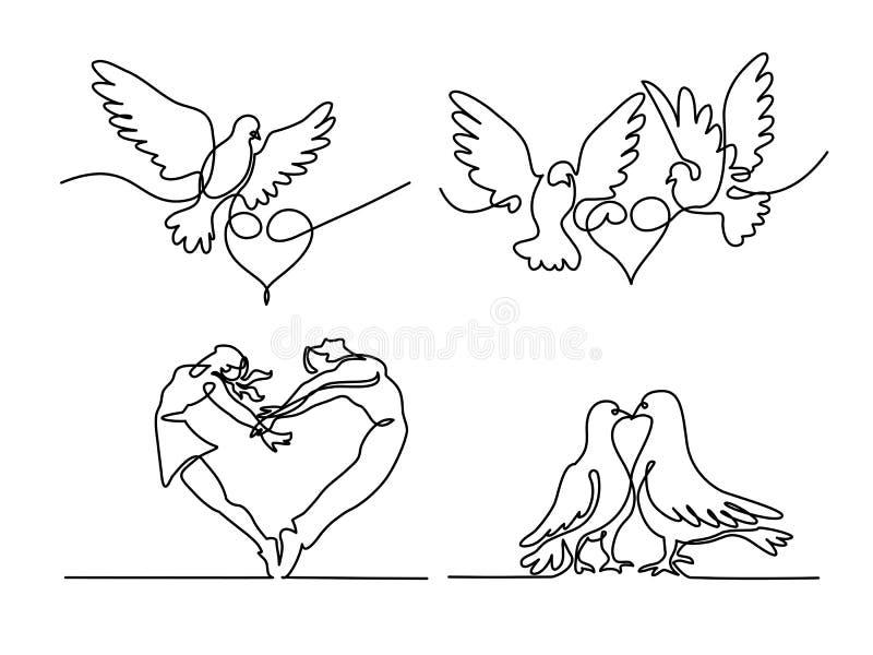 Καθορισμένος συνεχής πετώντας δύο περιστέρια με το λογότυπο καρδιών ελεύθερη απεικόνιση δικαιώματος