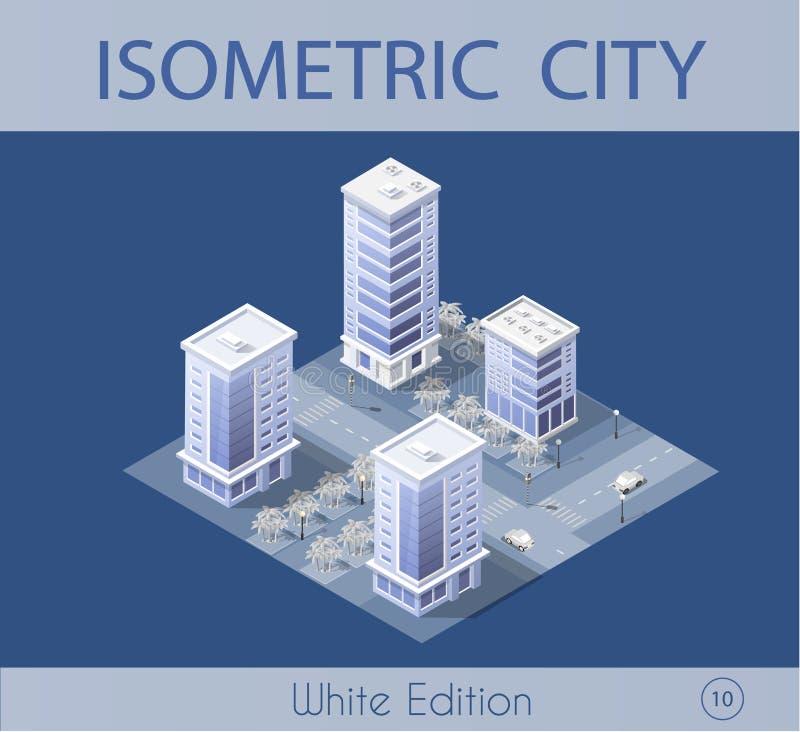 Καθορισμένος σύγχρονος ουρανοξύστης πόλεων απεικόνιση αποθεμάτων