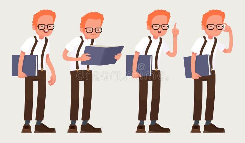 Καθορισμένος χαρακτήρας nerd Έξυπνος τύπος με τα γυαλιά με ένα βιβλίο στα χέρια του επίσης corel σύρετε το διάνυσμα απεικόνισης διανυσματική απεικόνιση