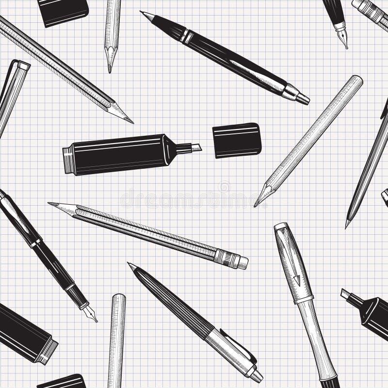 Καθορισμένο άνευ ραφής σχέδιο μανδρών Μολύβια, στυλοί και δείκτης διανυσματική απεικόνιση